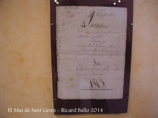 El Mas de Sant Genís - Navàs - Document de l'any 1863.