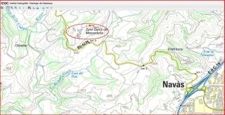 Església de Sant Genís de Massadella - Navàs - Mapa de situació del I.C.C. - Captura de pantalla, complementada amb anotacions manuals.