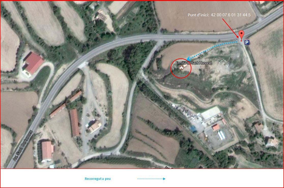 Esglesia de Sant Honorat-Solsona-Itinerari-Captura de pantalla de Google Maps, complementada amb anotacions manuals