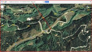 Església de Sant Iscle i Santa Victòria de Sauleda – Santa Coloma de Farners - INICI de l'itinerari - Captura de pantalla d'un mapa de Google Maps, complementada amb anotacions manuals.
