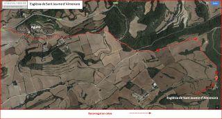Església de Sant Jaume d'Almenara – Santa Coloma de Queralt - Itinerari - Mapa Global - Captura de pantalla de Google Maps, complementada amb anotacions manuals