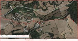Església de Sant Jaume d'Almenara – Santa Coloma de Queralt - Itinerari - 2ª part - Captura de pantalla de Google Maps, complementada amb anotacions manuals