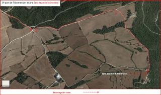 Església de Sant Jaume d'Almenara – Santa Coloma de Queralt - Itinerari - 3ª part - Captura de pantalla de Google Maps, complementada amb anotacions manuals