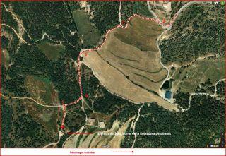 Església de Sant Jaume de la Boixadera dels Bancs – Montmajor - Part FINAL de l'itinerari - Captura de pantalla de Google maps, complementada amb anotacions manuals