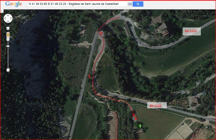 Església de Sant Jaume de Marganell – Castellbell i el Vilar - Itinerari - Captura de pantalla de Google Maps, complementada amb anotacions manuals.