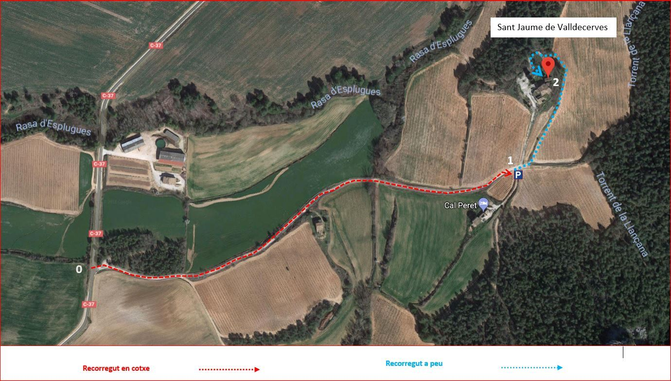 Església de Sant Jaume de Valldecerves – Querol -Itinerari - Captura de pantalla de Google Maps, complementada amb anotacions manuals