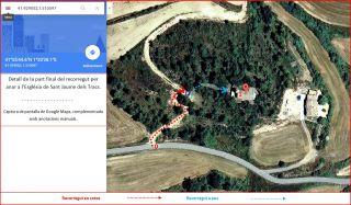 Església de Sant Jaume dels Tracs – Riner / Detall de la darrera part de l\'Itinerari - Captura de pantalla de Google Maps, complementada amb anotacions manuals
