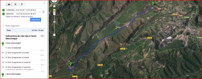 Església de Sant Joan de Bergús - Cardona - Itinerari - Captura de pantalla de Google Maps,
