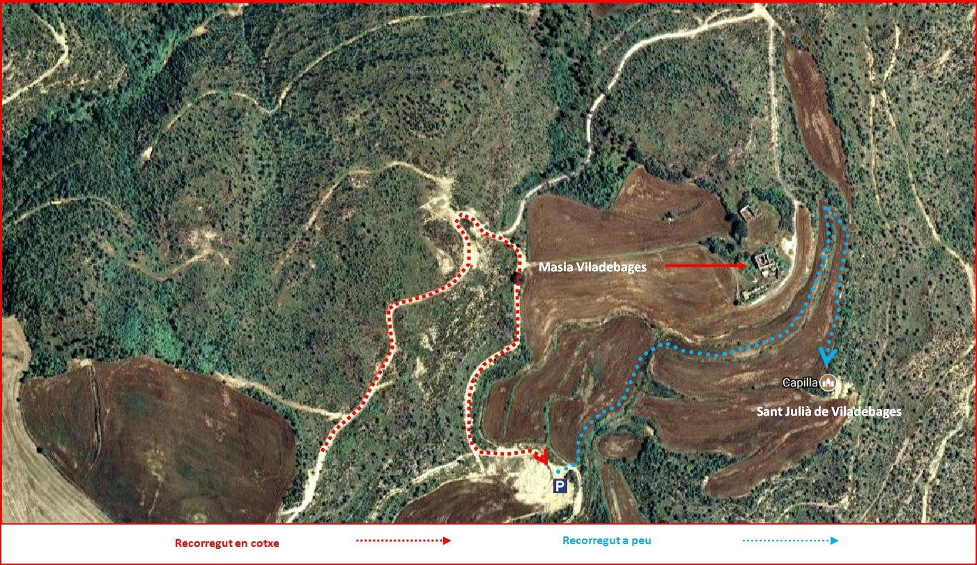 Església de Sant Julià de Viladebages – Olius - Itinerari darrera part del recorregut- Captura de pantalla de Google Maps, complementada amb anotacions manuals