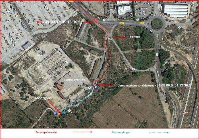 Església de Sant Julià dels Montgons-ITINERARI-Captura de pantalla de GOOGLE MAPS, complementada amb anotacions manuals