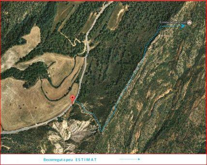 Església de Sant Just d'Odèn - Odèn - Itinerari estimat - Captura de pantalla de Google Maps, complementada amb anotacions manuals.