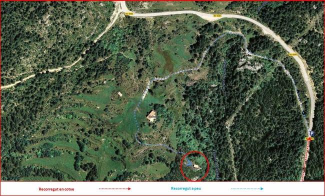 Església de Sant Llorenç dels Porxos - Itinerari - Captura de pantalla de Google Maps, complementada amb anotacions manuals.