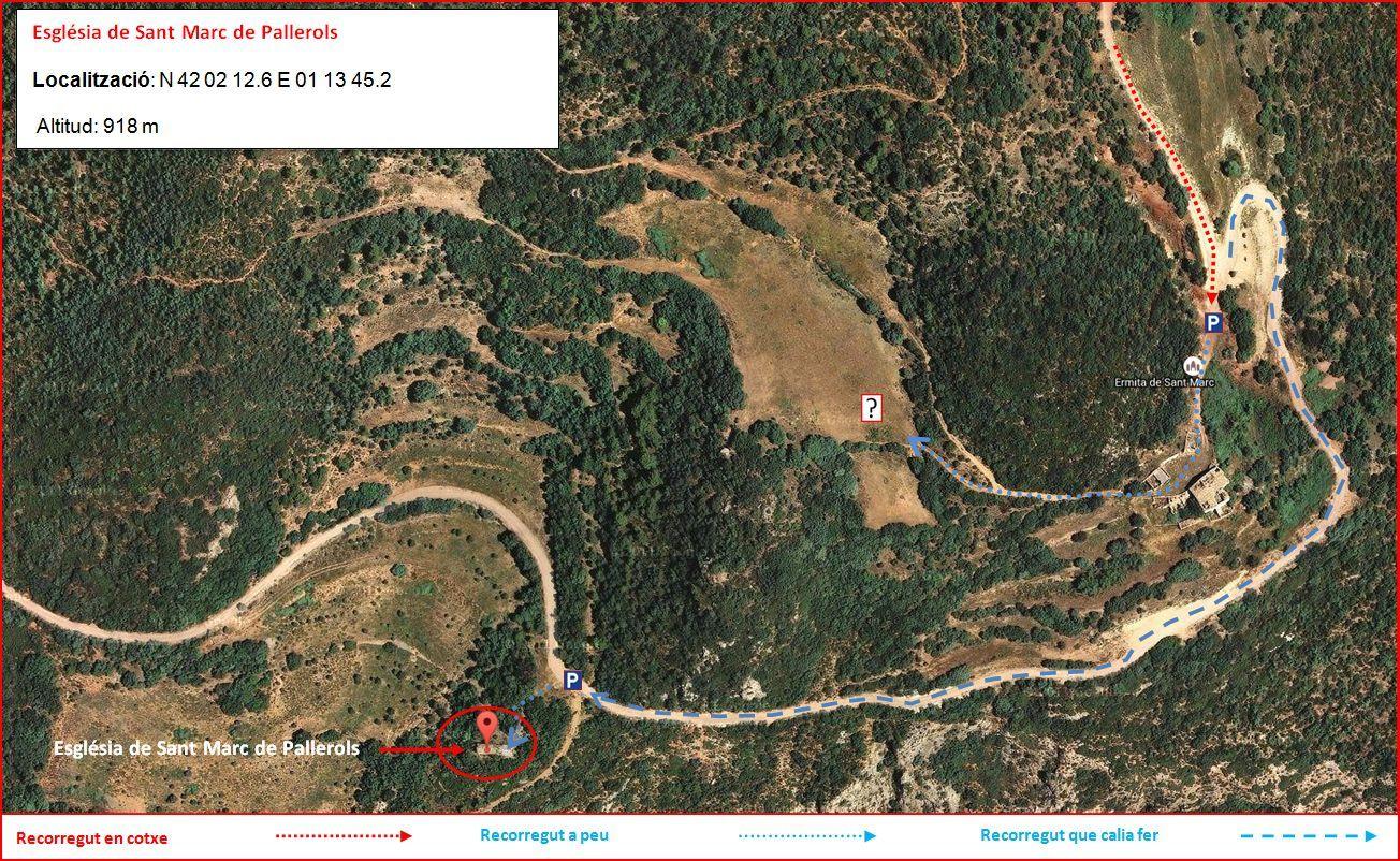 Església de Sant Marc de Pallerols de Rialb – La Baronia de Rialb - Itinerari - Detall part final - Opció 1 - Captura de pantalla de Gogle Maps, complementada amb anotacions manuals