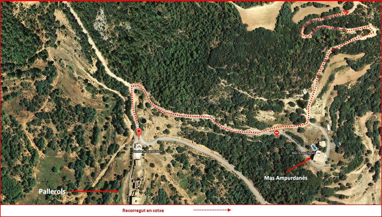 Església de Sant Marc de Pallerols de Rialb – La Baronia de Rialb - Itinerari - Detall - Sortida des de Pallerols - Captura de pantalla de Google Maps, complementada amb anotacions manuals