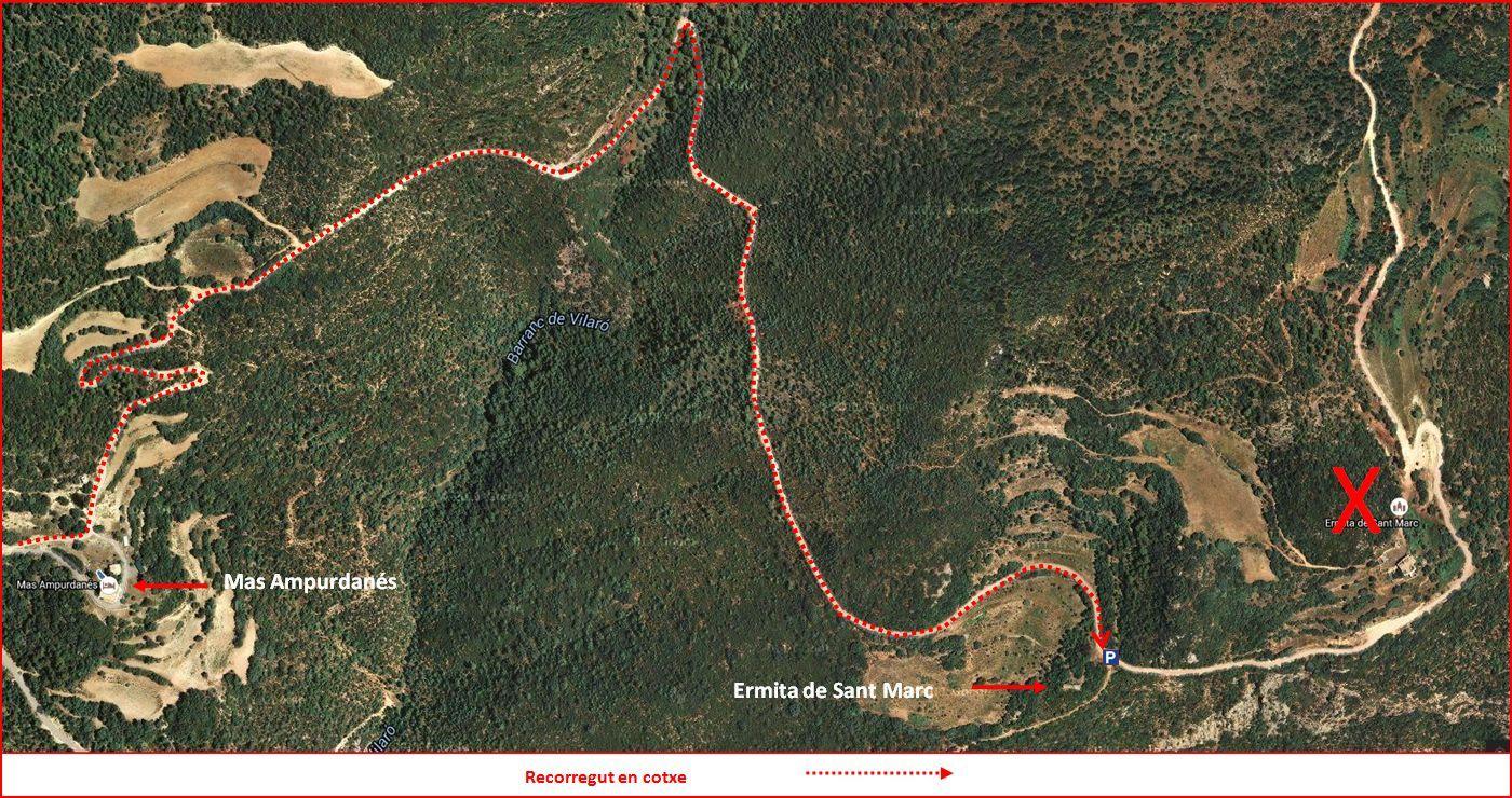 Església de Sant Marc de Pallerols de Rialb – La Baronia de Rialb - Itinerari - Detall part inicial, des de Pallerols. - Captura de pantalla de Google Maps, complementada amb anotacions manuals.