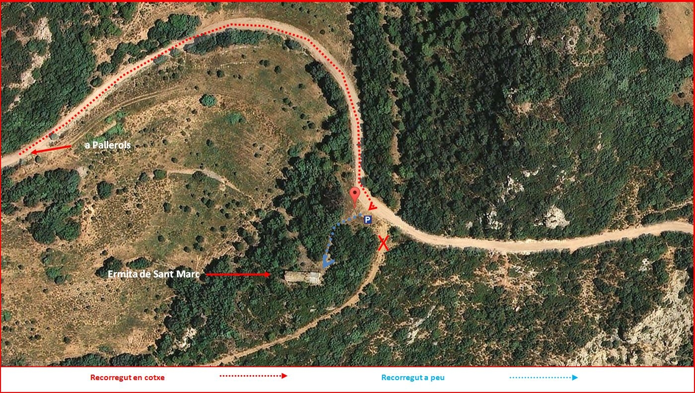 Església de Sant Marc de Pallerols de Rialb – La Baronia de Rialb - Itinerari - Detall part final - Captura de pantalla de Google Maps, complementada amb anotacions manuals.