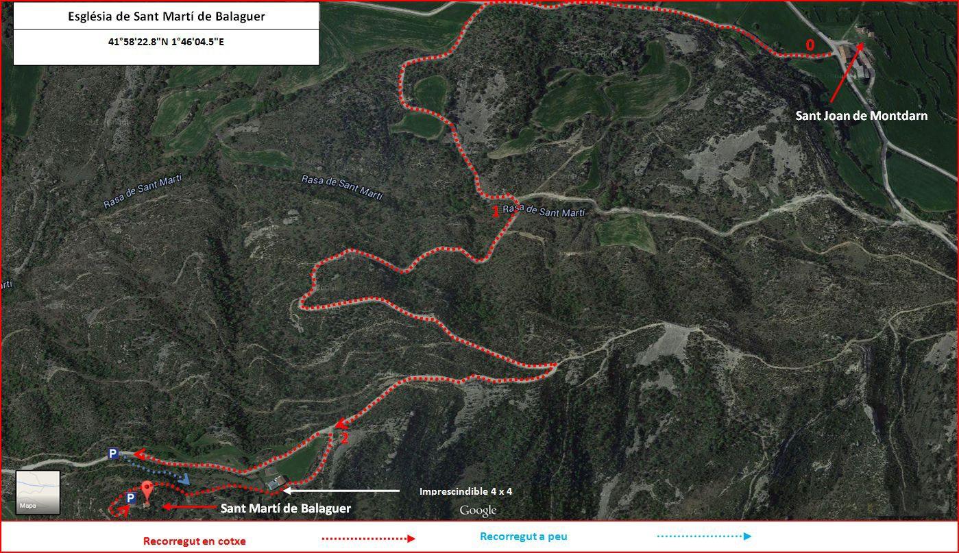 Esglesia de Sant Marti de Balaguer-Viver i Serrateix - Itinerari - Captura de pantalla de Google Maps, complementada amb anotacions manuals