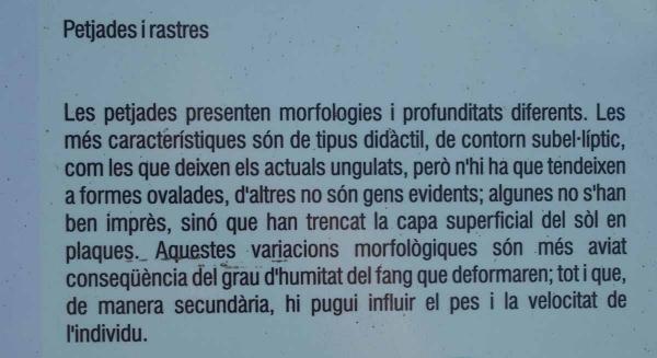 Ictines de Prat Barrina - Sant Mateu de Bages - Ampliació de les dades que figuren en un plafó informatiu situat davant de les empremtes.