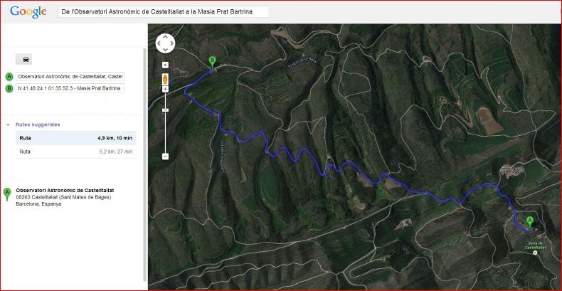Església de Sant Martí de Bertrans – Sant Mateu de Bages - Itinerari - Captura de pantalla de Google Maps, complementada amb anotacions manuals.