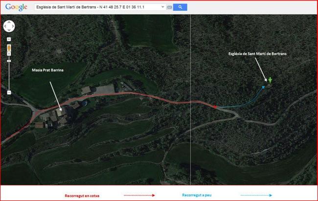 Església de Sant Martí de Bertrans – Sant Mateu de Bages - PART FINAL de l'itinerari - Captura de pantalla de Google Maps, complementada amb anotacions manuals.