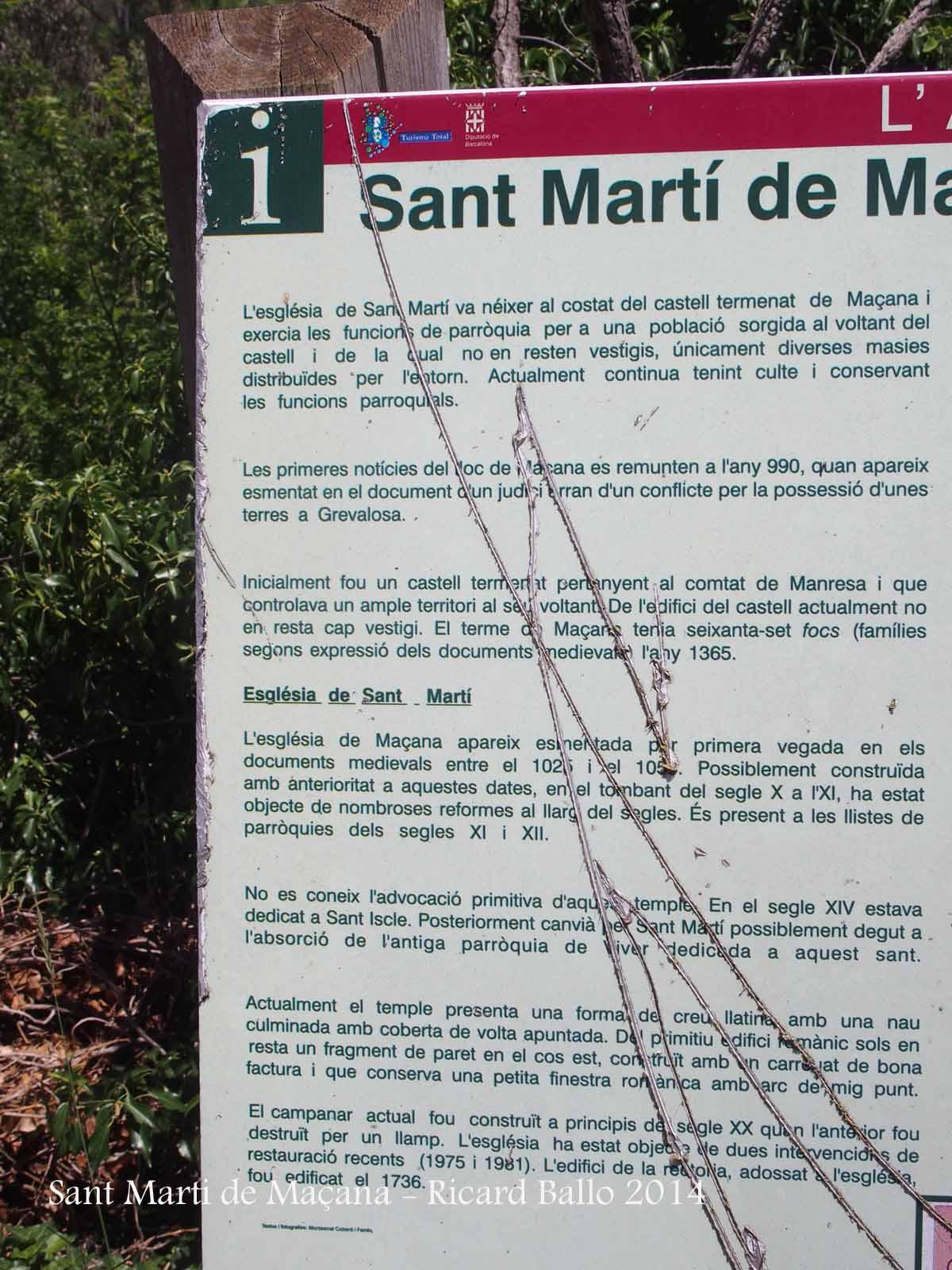Església de Sant Martí de Maçana – Rubió - Ampliació, per fer-lo llegible, d'un plafó informatiu situat al davant de l'església.