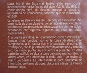 Ampliació / Detall del Plafó informatiu situat al davant de l\'Església de Sant Martí de Solamal – La Vall de Bianya