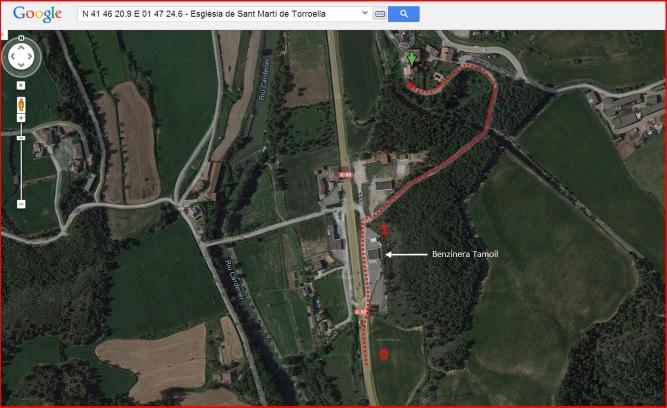 Església de Sant Martí de Torroella – Sant Joan de Vilatorrada - Itinerari - Captura de pantalla de Google Maps, complementada amb anotacions manuals.