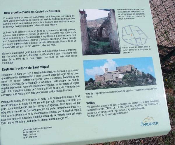 Església de Sant Miquel de Castellar – Aguilar de Segarra - Cartell informatiu situat al davant de l'edificació.