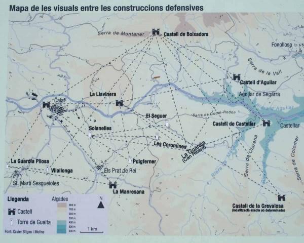Castell de Castellar - Aguilar de Segarra - Mapa de les visuals entre les construccions defensives.