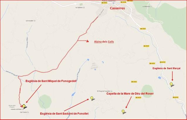 Itinerari a l'Església de Sant Miquel de Fonogedell i altres – Casserres - Captura de pantalla de Google Maps, complementada amb anotacions manuals