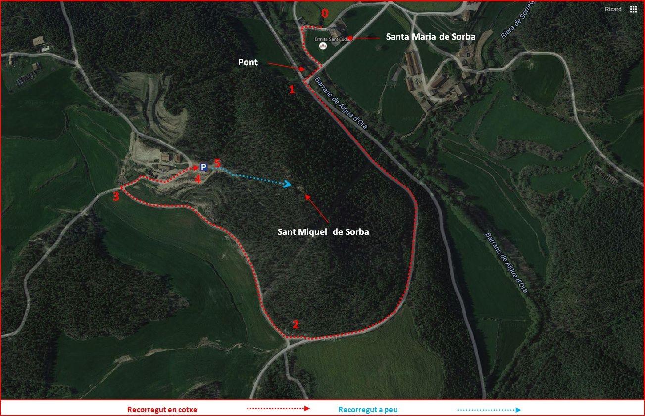 Església de Sant Miquel de Sorba – Montmajor - Camí d'accés - DETALL - Captura de pantalla de Google Maps, complementada amb anotacions manuals