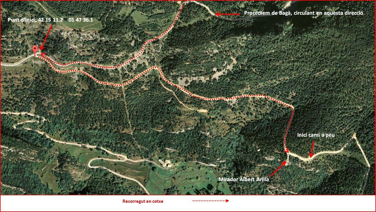 Església de Sant Miquel de Turbians – Gisclareny - Itinerari inicial - Captura de pantalla de Google Maps, complementada amb anotacions manuals