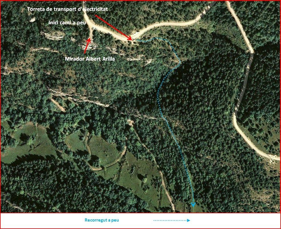 Església de Sant Miquel de Turbians – Gisclareny - Itinerari intermig - Captura de pantalla de Google Maps, complementada amb anotacions manuals
