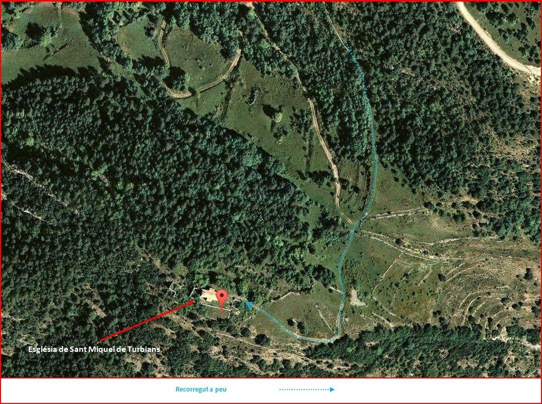 Església de Sant Miquel de Turbians – Gisclareny - Itinerari final - Captura de pantalla de Google Maps, complementada amb anotacions manuals
