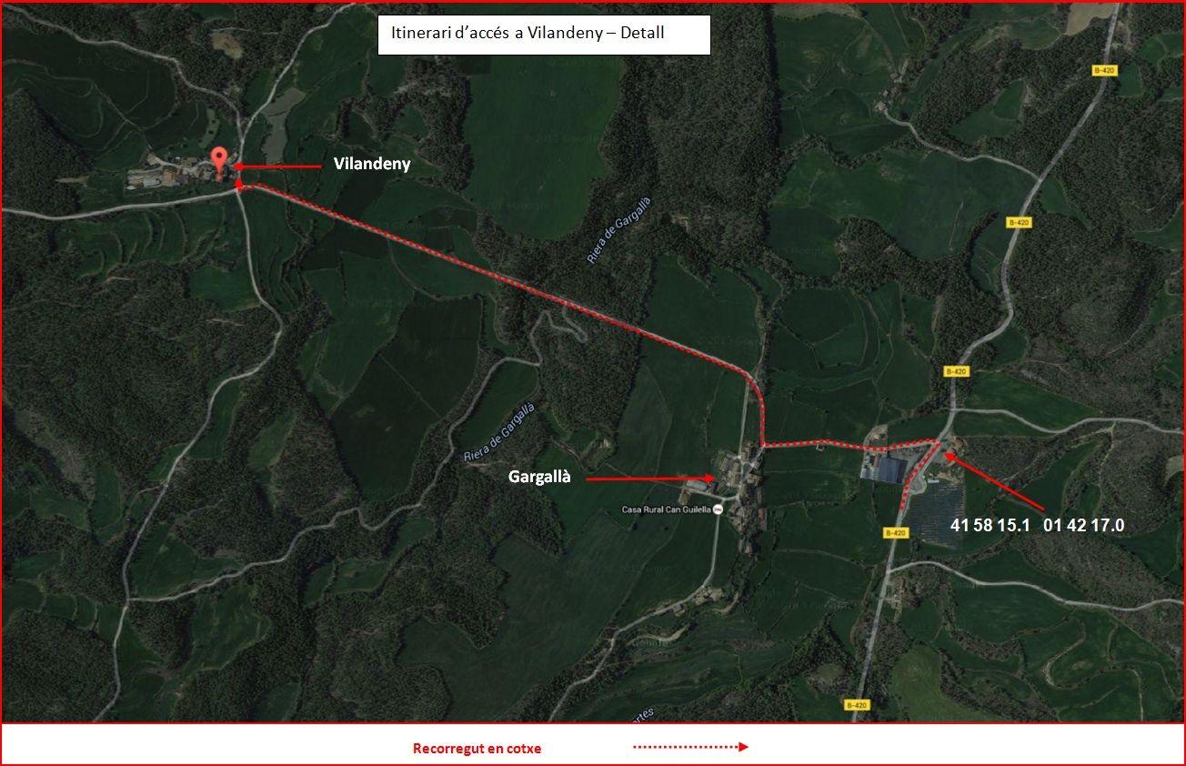 Església de Sant Miquel de Vilandeny – Navès - Detall recorregut - Captura de pantalla de Google Maps, complementada amb anotacions manuals