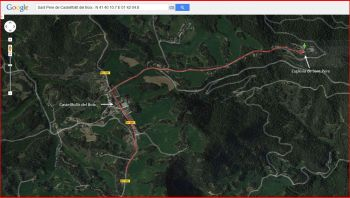 Església de Sant Pere – Castellfollit del Boix - Itinerari - Captura de pantalla de Google Maps, complementada amb anotacions manuals.