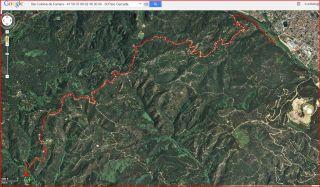 Església de Sant Pere Cercada – Santa Coloma de Farners - Itinerari - Captura de pantalla de Google Maps, complementada amb anotacions manuals.