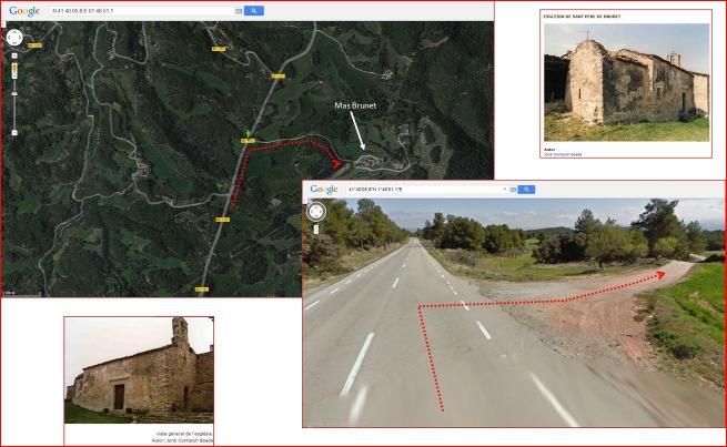 Església de Sant Pere de Brunet – Sant Salvador de Guardiola - Fotografies petites, extretes de Patrimoni.Gencat. Mapa captura de pantalla de Google Maps, complementada amb anotacions manuals. Fotografia gran: captura de pantalla extreta de Google maps.