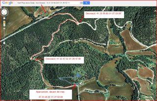 Església de Sant Pere de la Goda – Argençola - Captura de pantalla de Google Maps, complementada amb anotacions manuals.