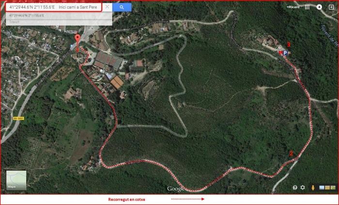 Església de Sant Pere de Reixac – Montcada i Reixac - Captura de pantalla de Google Maps, complementada amb anotacions manuals.