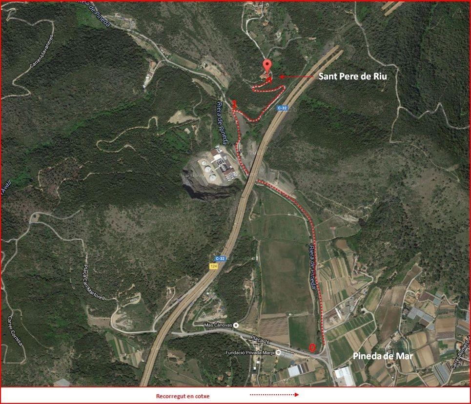 Església de Sant Pere de Riu – Tordera - iTINERARI - Captura de pantalla de Google Maps, complementada amb anotacions manuals