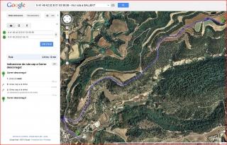Església de Sant Pere de Sarraïma - Itinerari - Captura de pantalla de Google Maps.
