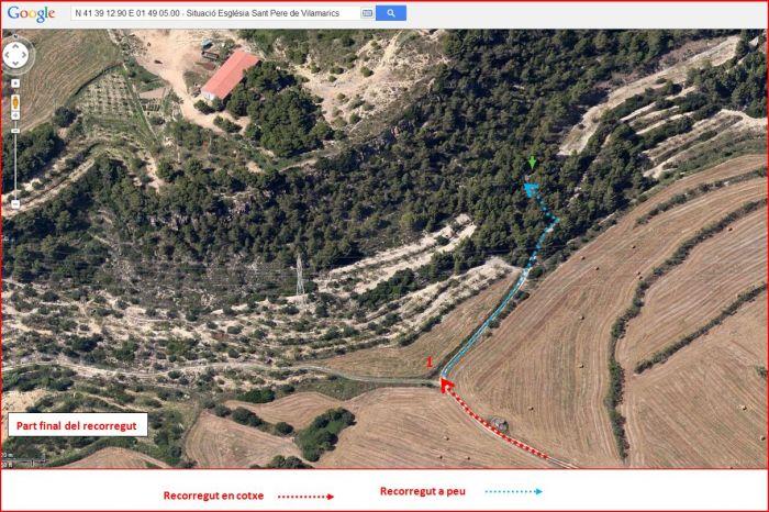 Camí a l'Església de Sant Pere de Vilamarics – Monistrol de Montserrat - Part final de l'itinerari - Captura de pantalla de Google Maps, complementada amb anotacions manuals.