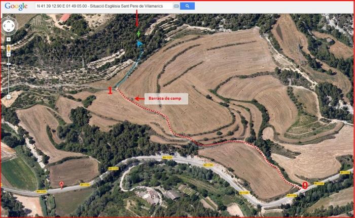 Camí a l'Església de Sant Pere de Vilamarics – Monistrol de Montserrat - Itinerari - Captura de pantalla de Google Maps, complementada amb anotacions manuals.