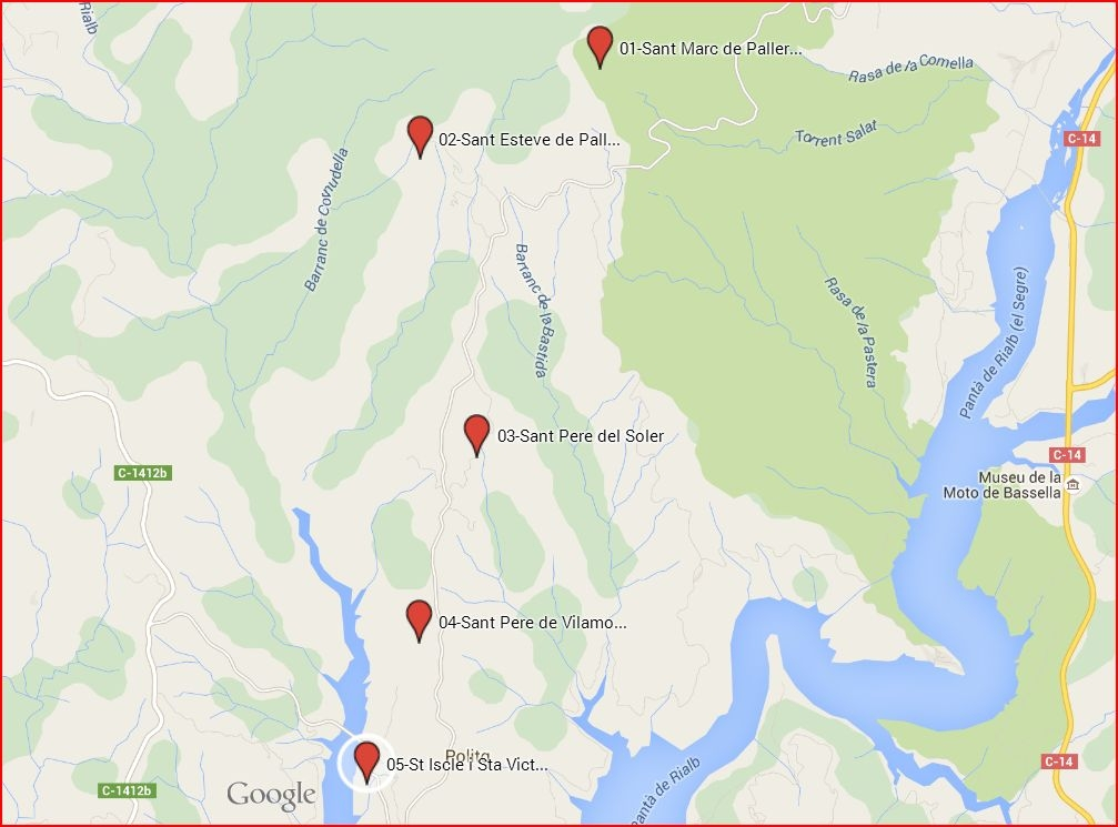 Església de Sant Pere de Vilamonera – La Baronia de Rialb - Itinerari - Captura de pantalla de Google Maps