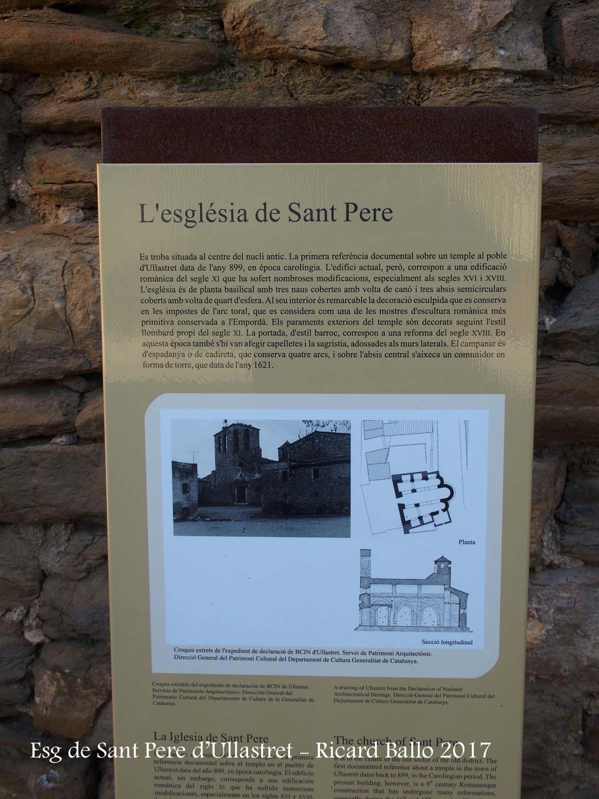 Església de Sant Pere – Ullastret - Plafó informatiu situat vora l'església