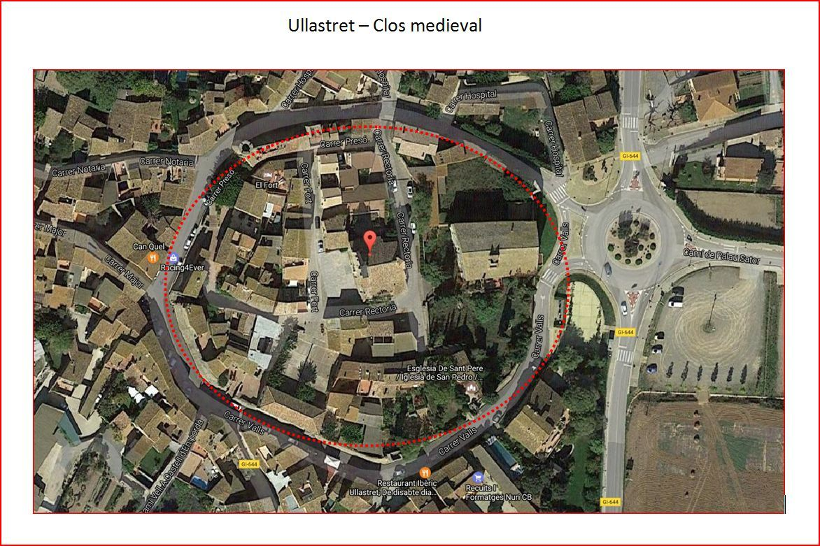 Ullastret - Vila closa - Captura de pantalla de Google Maps