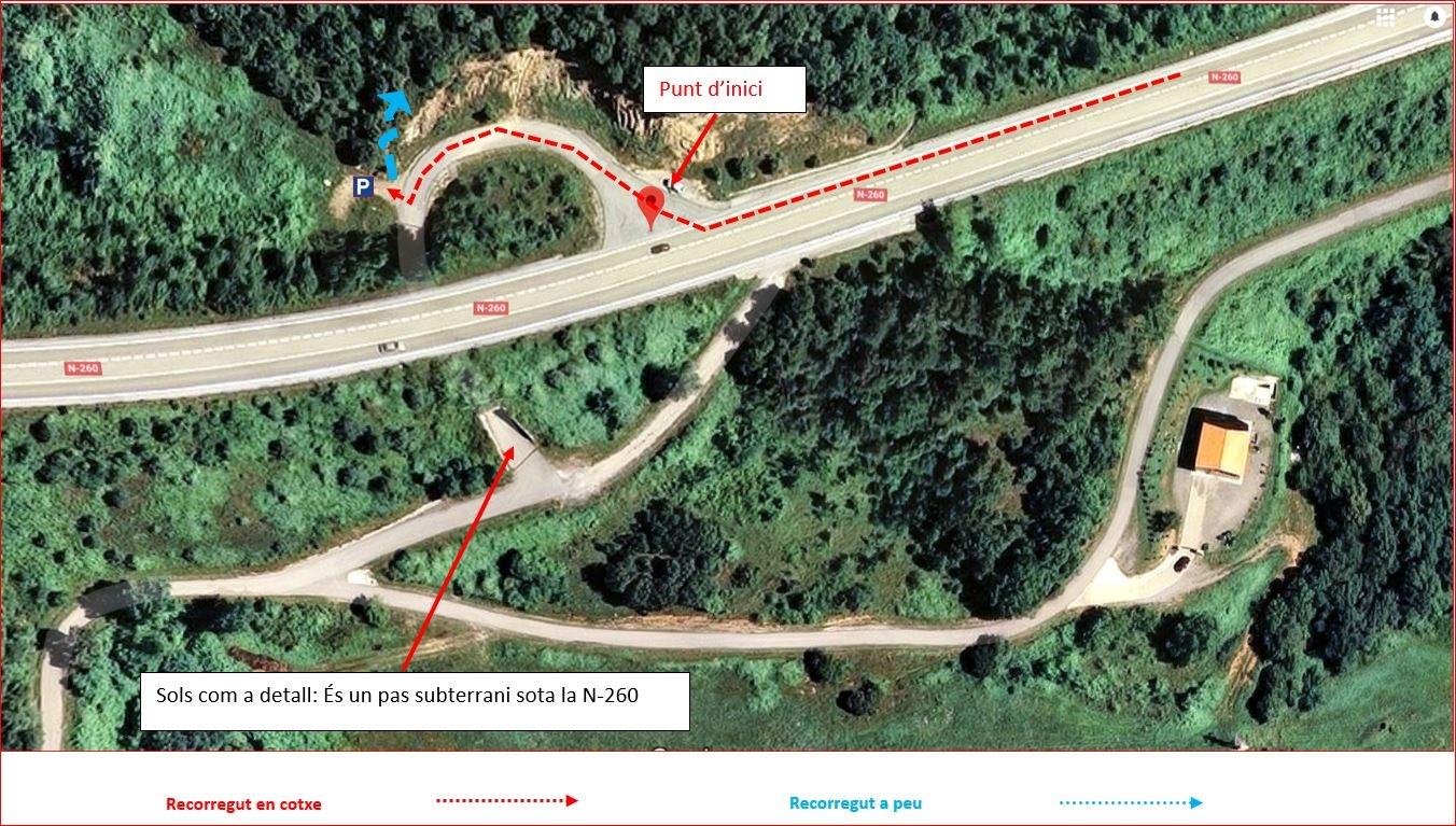 Camí a l'església de Sant Ponç d'Aulina. Detall. Captura de pantalla de Gogle Maps, complementada amb anotacions manuals