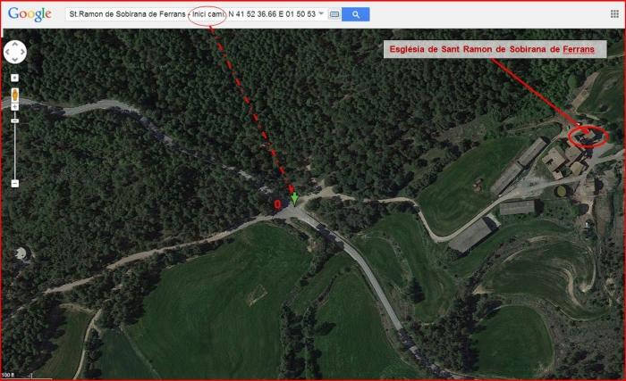 Església de Sant Ramon de Sobirana de Ferrans – Balsareny - Itinerari - Captura de pantalla de Google Maps, complementada amb anotacions manuals.