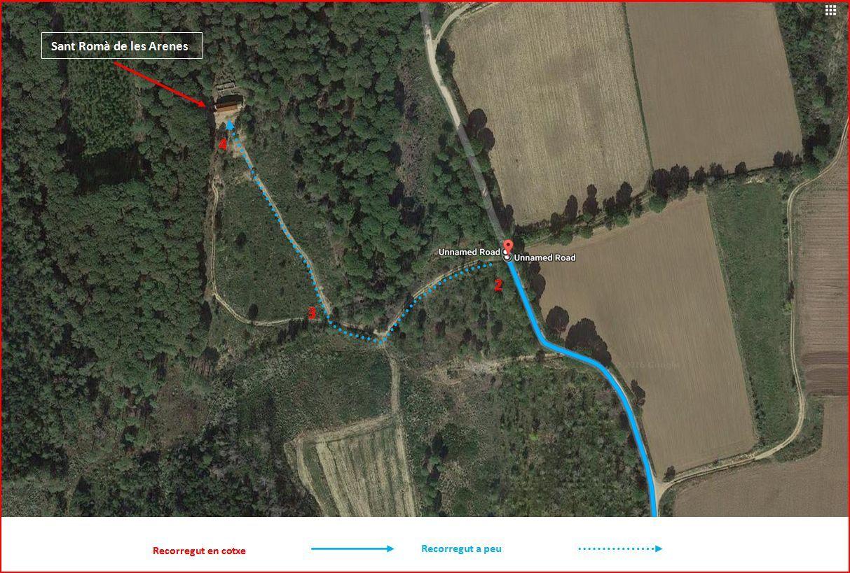 Església de Sant Romà de les Arenes – Foixà - Captura de pantalla de Google Maps, complementada amb anotacions manuals